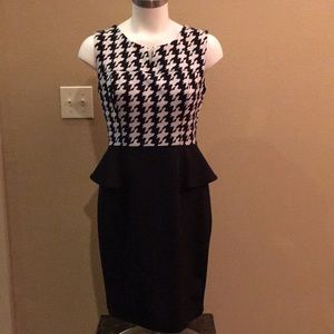 Black & White Houndstooth Peplum Dress